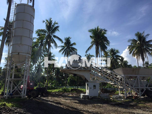 YHZS60 mobile concrete batching plant delivery and installed in Davao